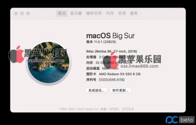 Big Sur 正式版 / OC 0.6.3 / 技嘉 B365M 小雕 / i7 9700 / rx590 / BCM94352Z